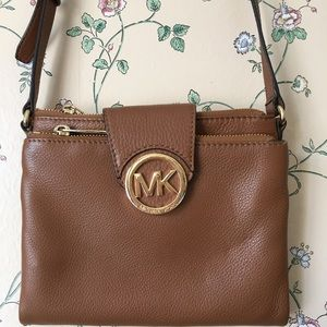 Michael Kors Tan Leather Crossbody Messenger Bag